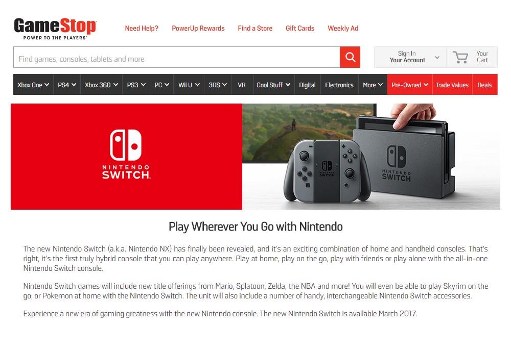 Pour GameStop, la Nintendo Switch permet de jouer à Skyrim