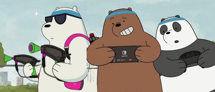 Griz Panda And Ice Bear From We Bare Bears Play Nintendo